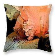 Peach Iris Digital Art Throw Pillow