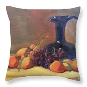 Peaches And Blue Pitcher Throw Pillow by Lilibeth Andre