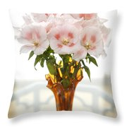 Peachy Gladiolas Throw Pillow