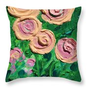 Peachy Roses Taking Form Throw Pillow by Ruth Collis