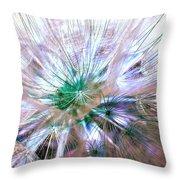 Peacock Dandelion - Macro Photography Throw Pillow