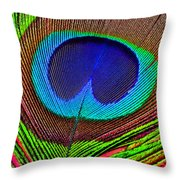 Peacock Feather Close Up Throw Pillow by Garry Gay