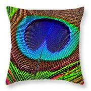 Peacock Feather Close Up Throw Pillow