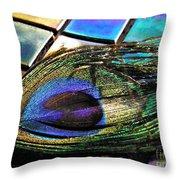 Peacock Feather On Tiles Throw Pillow