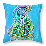 Peacock Swirl Throw Pillow