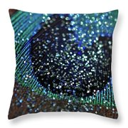 Peacock With Bling Throw Pillow