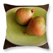 Pears On Heart Plate Throw Pillow