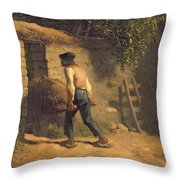 Peasant With A Wheelbarrow Throw Pillow by Jean-Francois Millet