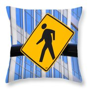 Pedestrian Crosswalk Sign In Business District Throw Pillow by Gary Whitton