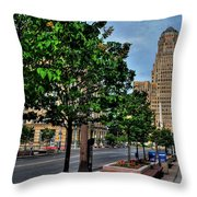 Pedestrian View Of City Hall Horizontal  Throw Pillow