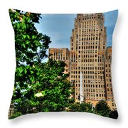 Pedestrian View Of City Hall Vert Throw Pillow