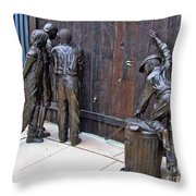 Peeking At Baseball Game Sculpture Throw Pillow