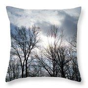 Peeking Sun Through The Branches Throw Pillow