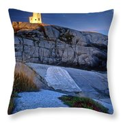 Peggys Cove Lighthouse Nova Scotia Throw Pillow