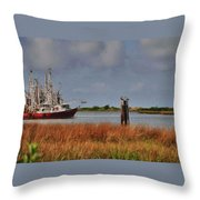 Pelican And The Red Shrimpboat Throw Pillow