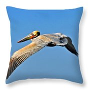 Pelican In Flight Throw Pillow