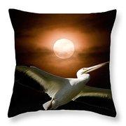 Pelican Moon Throw Pillow
