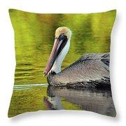 Pelican On A Golden Pond Throw Pillow
