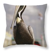 Pelican Visiting City Marina Throw Pillow