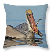Pelican With Catch Throw Pillow