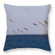 Pelicans And Morris Island Light 1 Throw Pillow