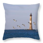 Pelicans And Morris Island Light 2 Throw Pillow
