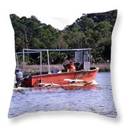 Pelicans Following Boat Throw Pillow
