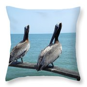 Pelicans On The Pier Throw Pillow