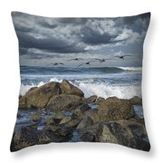 Pelicans Over The Surf On Coronado Throw Pillow