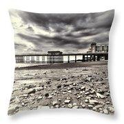 Penarth Pier Cream Throw Pillow