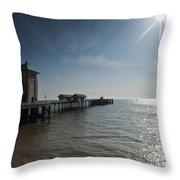 Penarth Pier Sun Throw Pillow