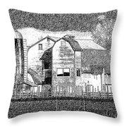 Pencil Sketch Barn Throw Pillow