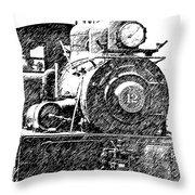 Pencil Sketch Locomotive Throw Pillow