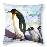 Penguin March Throw Pillow