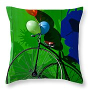 Penny Farthing And Balloons Throw Pillow by Garry Gay