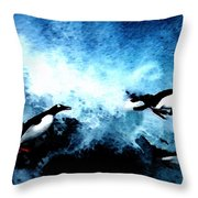 Penquin Joy Play  In Huge Waves Throw Pillow