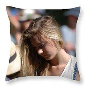 Pensive Girl Throw Pillow