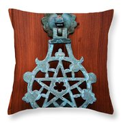 Pentagram Knocker Throw Pillow by Fabrizio Troiani