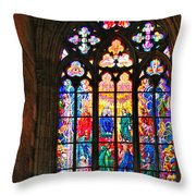 Pentecost Window - St. Vitus Cathedral Prague Throw Pillow