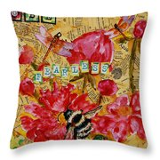 Peony Flower Painting - Be Fearless Throw Pillow