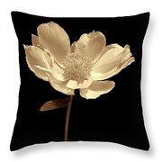 Peony Flower Portrait Sepia Throw Pillow