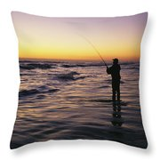 People Are Surf Fishing For Red Drum Throw Pillow