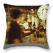 People At One Of The First Starbucks Throw Pillow