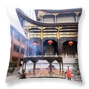People At The Buddhist Temple Throw Pillow