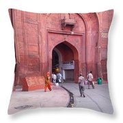 People Entering The Entrance Gate To The Red Colored Red Fort In New Delhi In India Throw Pillow