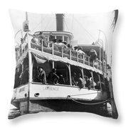 People Fleeing Galveston After Flood - September 1900 Throw Pillow