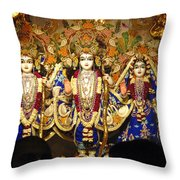 People Offering Prayers At The Iskcon Temple In Delhi Throw Pillow