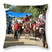 People On Horseback And On Foot Making The Climb To The Vaishno Devi Shrine In India Throw Pillow