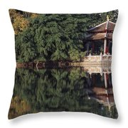 People Resting Under Pagoda On Hoan Throw Pillow