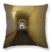 People Starting To Walk Down A Tunnel In Dover Castle Throw Pillow
